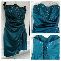 Designer Tiffany Bling Dress Size Small Teal Sequence Beading Corset Back Photo