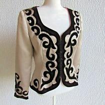 Designer Velvet Blush Blazer M L Snaps Lined Satin Evening Jacket Long Sleeve  Photo