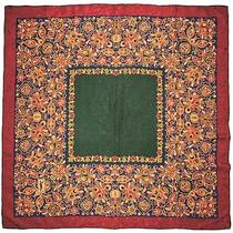 Designer Ysl Yves Saint Laurent Floral Burgundy Green Blue Jacquard Silk Scarf Photo