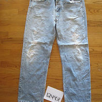 Destroyed Levi Feather 501 Grunge Jean 36x31 Meas 34x28.5 12495f Photo