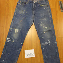 Destroyed Levi Feathered 501 Usa Grunge Jean Tag 44x34 Meas 38x31.5 16686f Photo