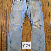Destroyed Levis 501 Feathered Grunge Jean Tag 34x31 4323f Photo