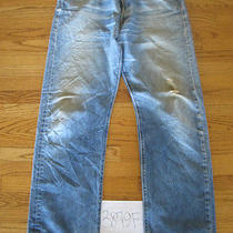 Destroyed Levis Grunge 501 Feathered Jean Tag 36x34 3879f Photo