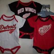 Detroit Red Wings Bodysuits 3pc Set 0-3 Mos Team Nhl Reebok Cotton Assorted Nwt Photo