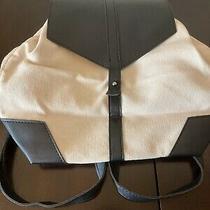 Deux Lux Backpack-White Canvas W/ Black Vegan Leather Straps Fab Fit Fun Photo