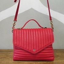 Deux Lux Bright Red Pink Vegan Leather Quilted Striped Cross Body Bag Purse  Photo