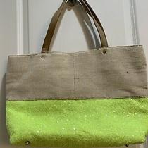 Deux Lux Canvas Color Block Beige Lime Green Sequin Tote Shoulder Bag Handbag Photo