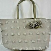 Deux Lux Ladies Blossoms Tote Handbag With Pom Poms Brand New Light Gray  Photo