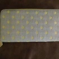 Deux Lux Light Gray With Yellow Polka Dots Zip Around Wallet Gold Lining Nwot Photo