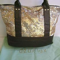 Deux Lux Sequins Gold Silver Dark Green Shopper Shoulder Handbag Tote  Dust Bag Photo