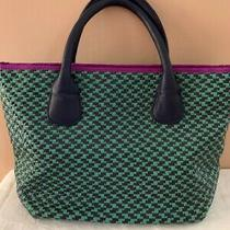 Deux Lux Woven Pattern Green Tote Handbag Faux Leather With Purple Inside Lining Photo