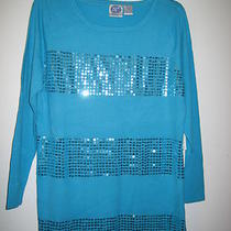 Dg2 Diane Gilman Turquoise Long Sweater Tunic Embellished With Sequins Nwt Sz M Photo