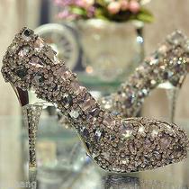 Diamond Shinning Swarovski Crystal High Heel Wedding Shoes Stiletto Custom Size Photo
