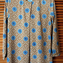 Diane Von Furstenberg 100% Poly Tan/blue 1-Button Jacket Top Bust 38