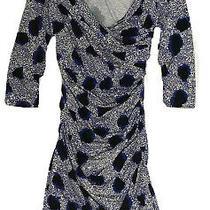 Diane Von Furstenberg 100% Silk Bentley Short Blue Printed Dress Us /4 Uk / 8 Photo