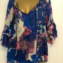 Diane Von Furstenberg 100% Silk Top Blouse Shirt Size 4 Uk 8 Photo