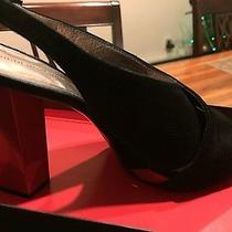 Diane Von Furstenberg Black High Heel  Suede and Lacquer Open Toe Shoes Photo