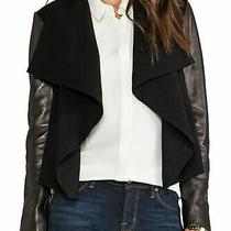 Diane Von Furstenberg Black Olympia Leather Jacket Blazer Coat Women's Size 2 Photo
