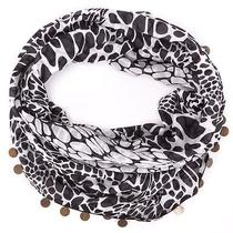 Diane Von Furstenberg Black White Silk Leopard Rain Spot Print Circle Scarf Photo