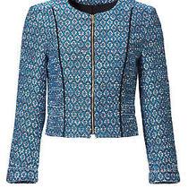 Diane Von Furstenberg Blue Women's Size 2 Collarless Tweed Jacket 498- 377 Photo