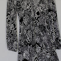 Diane Von  Furstenberg Dress -  Elegant Rose Print in Black and White Photo