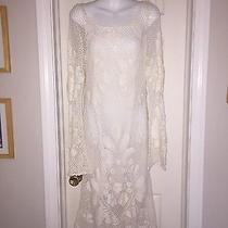 Diane Von Furstenberg Dvf Linen Crochet Knit Overlay Lined Dress Size Mediun Photo