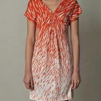 Diane Von Furstenberg Dvf Silk Stripe Jersey Wild Rain Print Dress  Orange  2 Photo