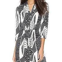 Diane Von Furstenberg Freya Stretch Silk Shirt Dress in Ethnic Collage Black  10 Photo