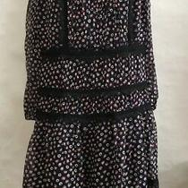 Diane Von Furstenberg 'Jamie' Navy Printed Silk & Lace Yoke Dress Sz 6 New 498 Photo