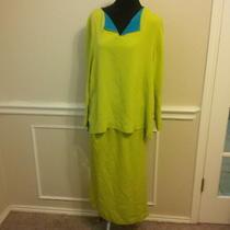 Diane Von Furstenberg M Bright Light Green Silk Assets 2 Pc Top Skirt Set Dress Photo