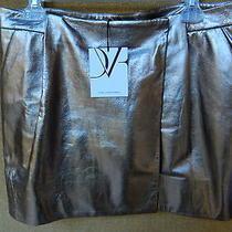 Diane Von Furstenberg Melissa Metallic Leather Mini-Skirt Sz 10 Photo