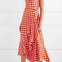 Diane Von Furstenberg Orange Silk Ruffled Wrap Dress Size 8 Like-New Midi Dress Photo