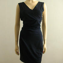 Diane Von Furstenberg Parker Jersey Dress Ruched v Neck Navy S 285 5357 Bmj Photo
