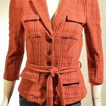 Diane Von Furstenberg Pink/salmon & Black Plaid Blazer Size 4 Photo