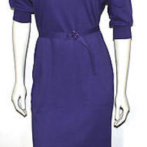Diane Von Furstenberg Purple Cotton Knit Vintage Dress 10 Photo