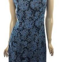 Diane Von Furstenberg Side Slit Mini Dress Orsel Alexander Navy Sz 10 Sleeveless Photo
