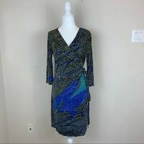 Diane Von Furstenberg Silk Wrap Printed Dress Black Blue Size 10 Photo