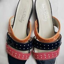 Diane Von Furstenberg Slide Sandals Womens 8 Blue Slip on Strappy Low Heel Retro Photo