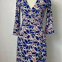 Diane Von Furstenberg Sz 2 New Julian Two Blue Geometric Multi Jersey Wrap Dress Photo