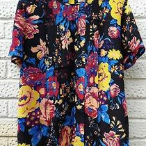 Diane Von Furstenberg Top 100% Silk Size 8uk Black Yellow Blue Red Pink Florals  Photo