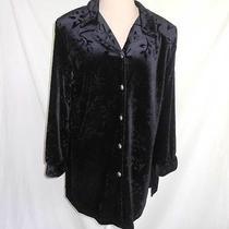 Diane Von Furstenberg Vintage Deadstock Black Velvet Jacket Tunic Shirt Dvf L Photo