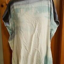 Diane Von Furstenberg Watercolor Blue Silk Swim Cover Up Dress Medium Photo