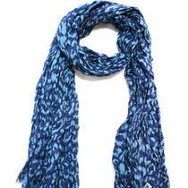Diane Von Furstenberg Women's Scarf Blue Leopard Print Photo