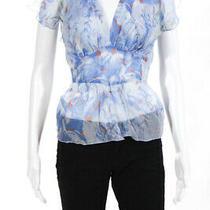 Diane Von Furstenberg Women's Silk Short Sleeve v Neck Floral Belt Blouse Blue S Photo