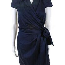 Diane Von Furstenberg Womens v-Neck Cap Sleeve Pleated a-Line Dress Blue Size 10 Photo