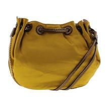 Diane Von Furstenberg Womens Yellow Satin Shoulder Handbag Purse Small Bhfo 0371 Photo