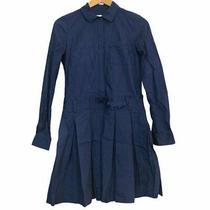 Diane Von Fursternberg Dvf Montana Shirt Blue Long Sleeve Dress No Belt - Xs 0  Photo