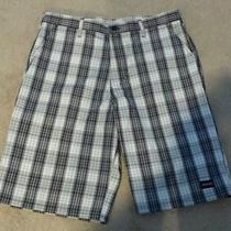 Dickie's Shorts Black/white Plaid Size 36 With Cell Phone Pocket Photo