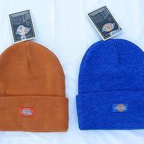 Dickies Beanie 2 Winter Hats Cuffed One Size Orange and Blue Knit New With Tags  Photo