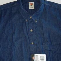 Dickies  Big Men's  Dark Blue Denim  Long Sleeve  Work Shirt  Size 4xl  Nwt Photo